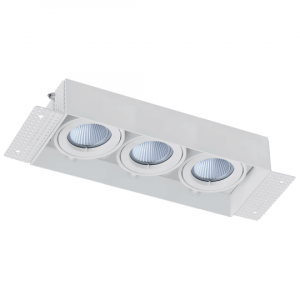Arc LED Trimless Plaster-in Triple Head Adjustable Downlight (White)